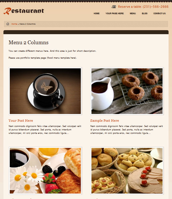 Restaurant wordpress theme for food, cafe, cooking