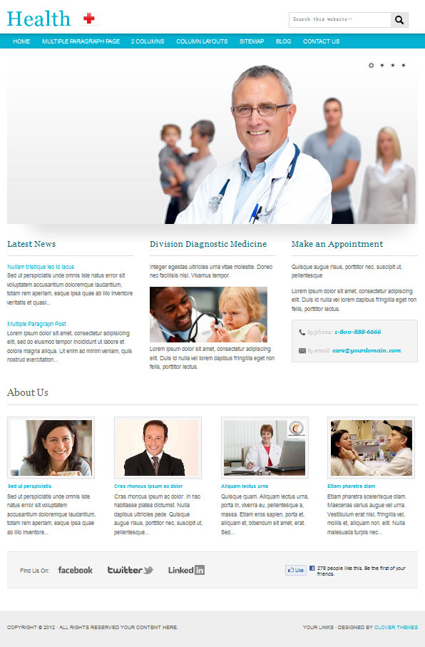 Doctor dentists clinic wordpress theme: Health